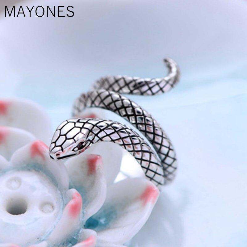 Thai argent animaux serpent anneaux pour femmes hommes 925 en argent Sterling Anillos mode bijoux accessoires offre spéciale