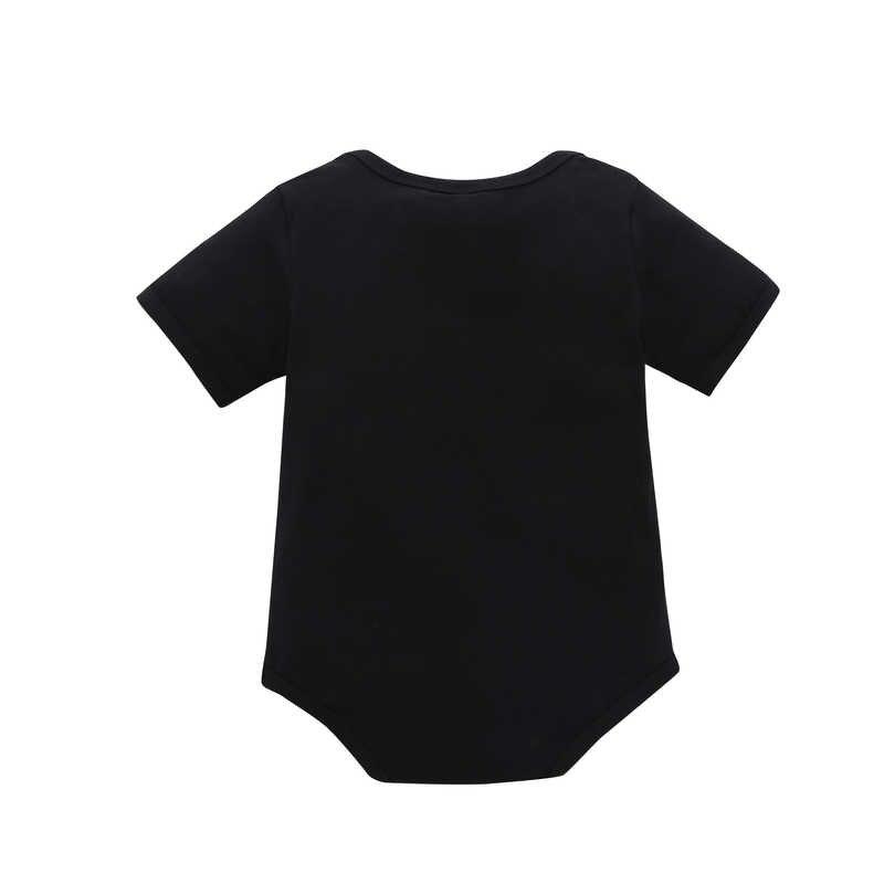 2019 Новая летняя одежда для маленьких мальчиков, с короткими рукавами, с рисунком черного букв, Цельный треугольник для мальчиков, 100% хлопок, подходит для детей 0-3 лет