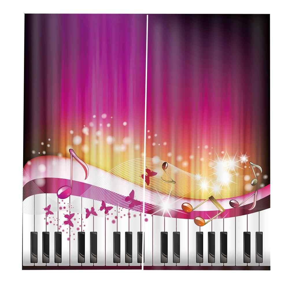 Затемненная занавеска Роскошная 3D оконная занавеска для гостиной розовая музыкальная занавеска s для комнаты для девочки