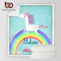 BeddingOutlet Einhorn Regenbogen Decke Glauben Wunder Cartoon Plüsch Decke auf Sofa Bett für Kinder Bettwäsche Sherpa Decke