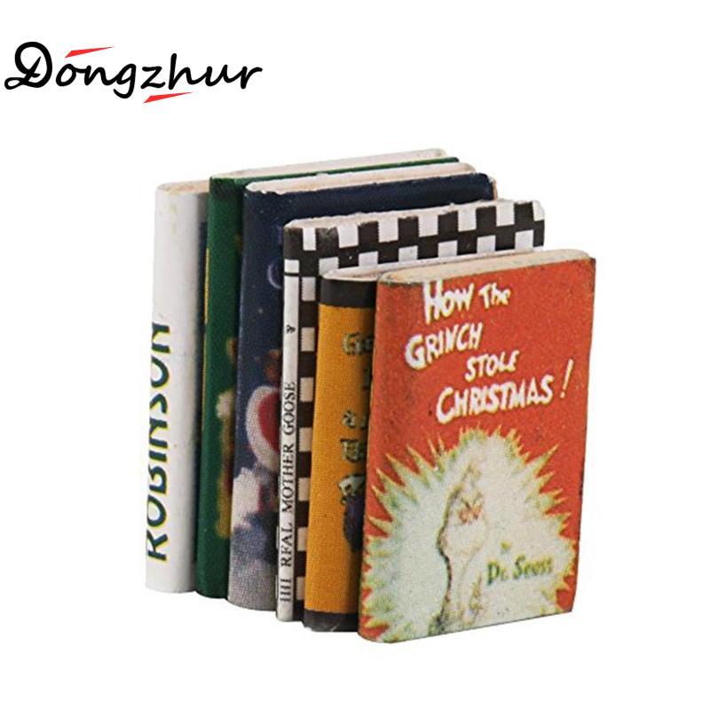 Dongzhur Dollhouse Miniatures 1:12 Accessories Mini Book Toy Miniaturas Miniature Doll House Furniture Wooded Books 6pcs/set