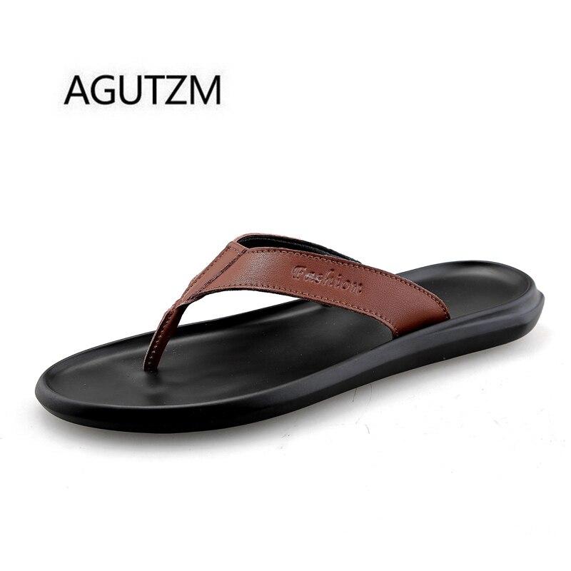 Agutzm Brand 2528 New Summer Genuine Leather Mens Flip -3396