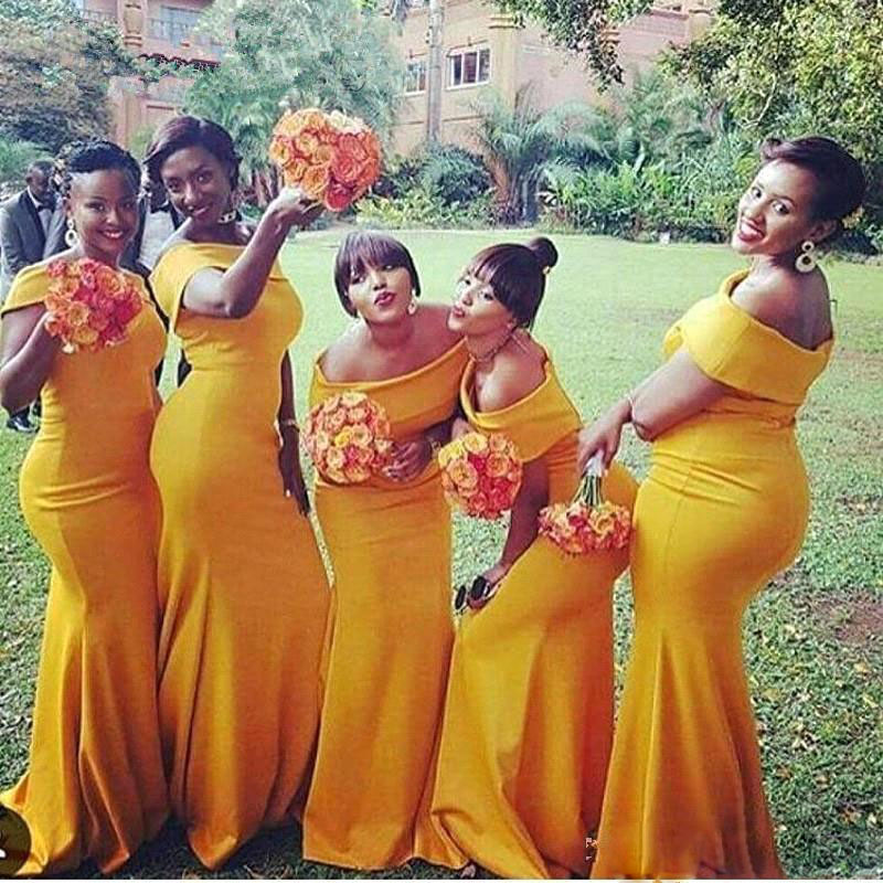 6bf2c91bfae 2018 Plus Size Mermaid Long Bridesmaid Dresses african black girl Bateau  Neck Nigeria Yellow Ruched Sweep