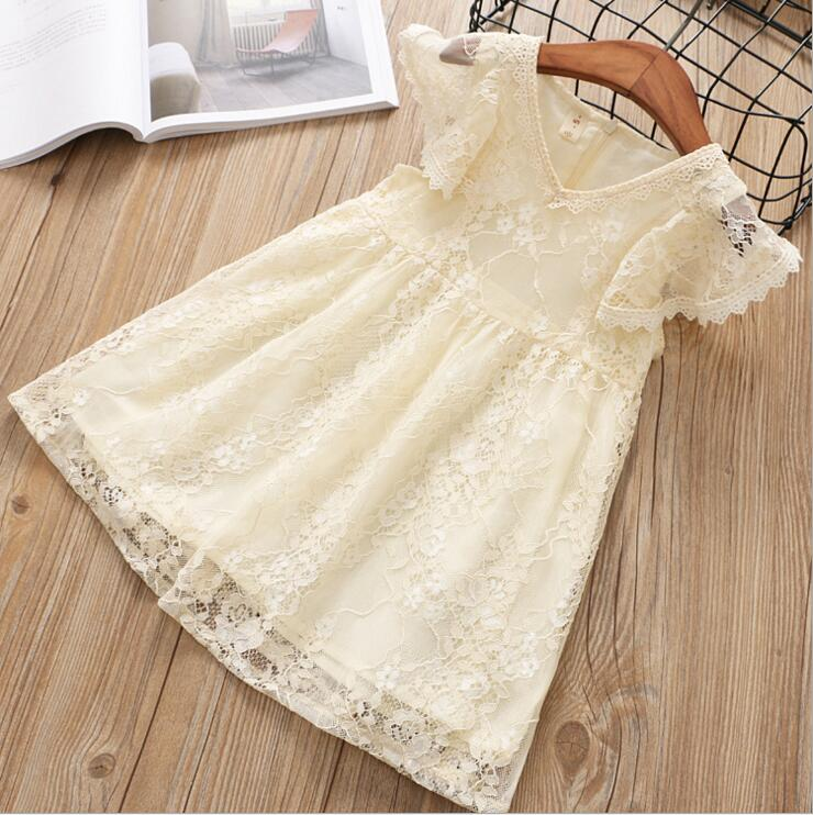 Kids Girl Ball Gown Dress NEW Flying sleeve Toddler Girl Summer Lace Dress Year Princess Birthday Party Dress Children Clothing 2017 summer new lace vest girl dress baby girl princess dress 3 7 age chlidren clothes kids party costume ball gown beige