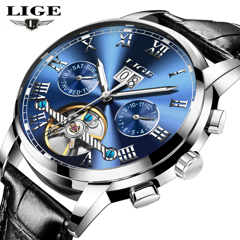 Mens Watches Top Brand Luxury LIGE Automatic Machinery Watch Men Leather Waterproof Business Wristwatch Man Fashion Causal Clock new business watches men top quality automatic men watch factory shop free shipping wrg8053m4t2