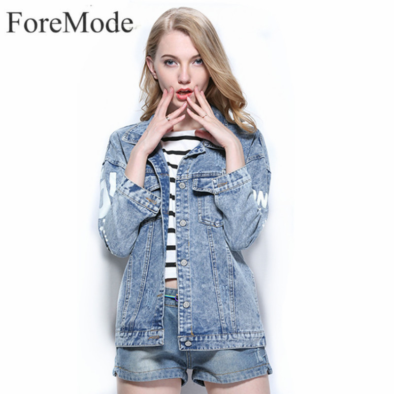 ForeMode 2017 Spring Women Denim Jacket Single Breasted Long Sleeve Coat Female Short Jeans Jacket Woman Denim Coat Outwear