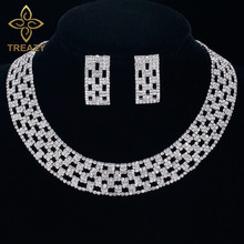TREAZY Luxury Crystal Bridal Jewelry Sets Silver Color Rhinestone Choker Necklace Wedding Engagement Jewelry Sets for Women