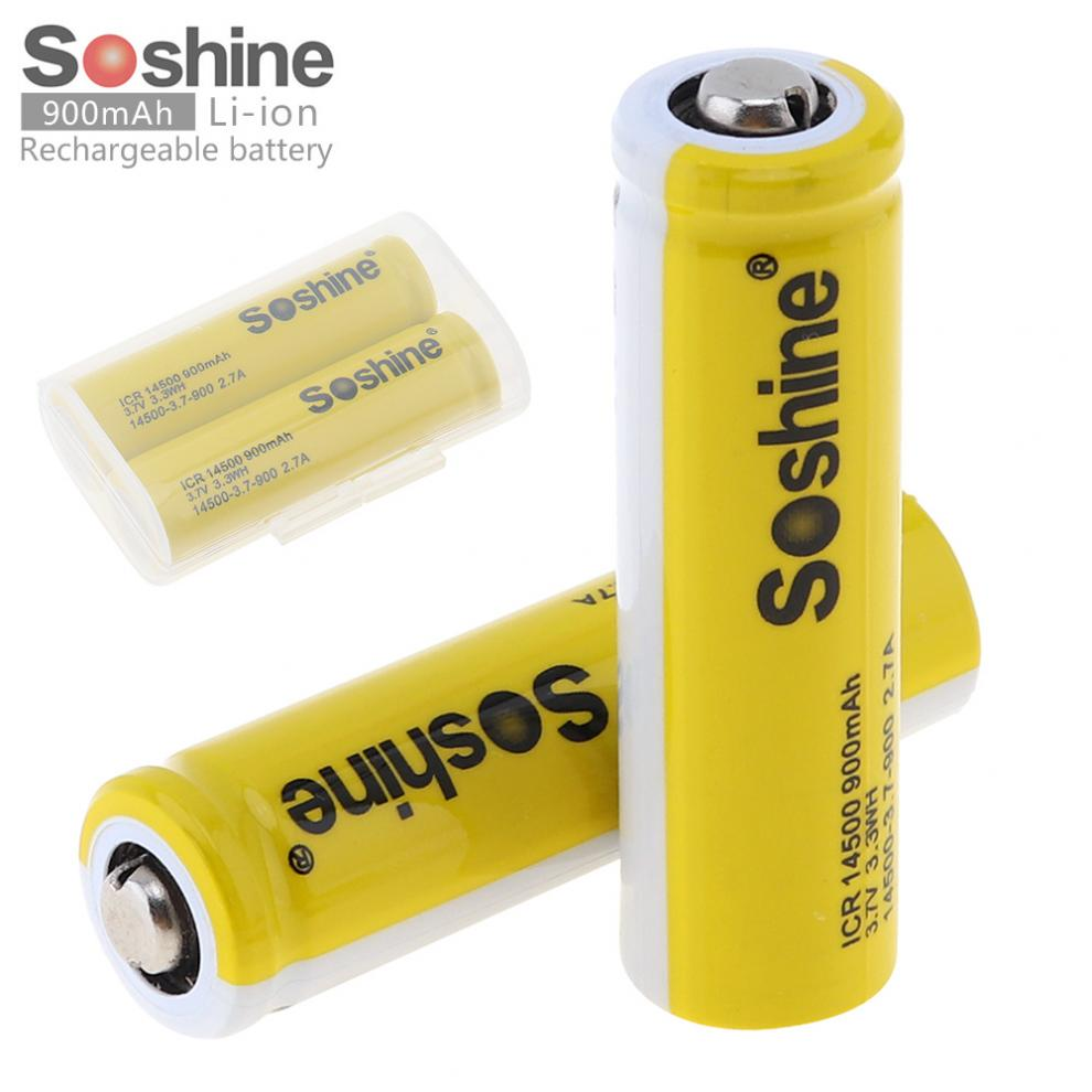 2PCS Soshine 3.7V ICR 14500 900mAh Li-ion Rechargeable Battery with Safety Relief Valve+Battery Box for Flashlight Headlamp