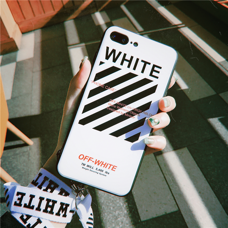 Electronics - Off Twill Lanyard Soft Black Tpu Phone Case for IPhone X XR XS Max 8 7 6 6S Plus White Back Cover Offwhite