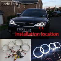 HochiTech Cree LED Chip Light Guide Angel Eyes Kit White Halo Ring daytime light with Dimmer Fuction For FORD Mondeo MK3 2001 07