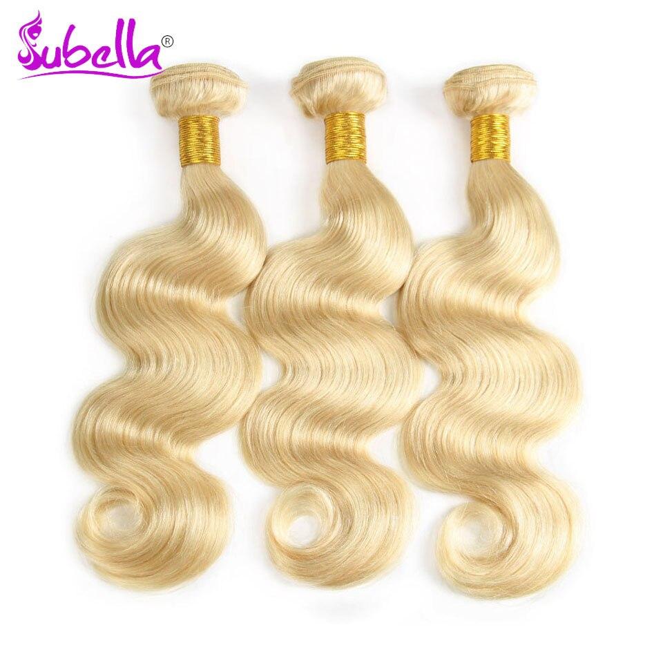 Subella волос 613 светлые волосы индийские волосы переплетения 3 Связки объемная волна 100% человеческих волос Связки 10-24 дюймов бесплатная достав...