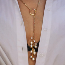 2019 New Simple Fashion Women Long Simulated Pearl Tassel Statement Necklace Trendy Gold Chain Pendant Necklace Jewelry charm gold rose simulated pearl pendant necklace set long chain necklace jewelry wedding necklace accessories