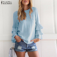 ZANZEA Women Blouses Shirts 2018 Autumn Elegant Ladies O-Neck Flounce Long Sleeve Solid Blusas Casual Loose Tops 3