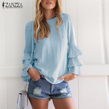 ZANZEA Women Blouses Shirts 2018 Autumn Elegant Ladies O-Neck Flounce Long Sleeve Solid Blusas Casual Loose Tops