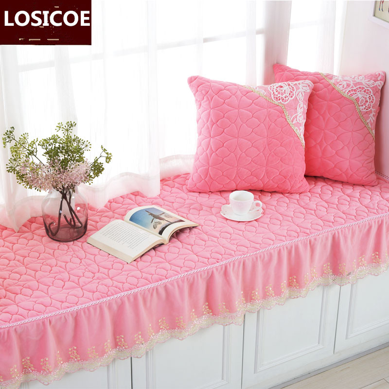 Upscale crystal plush bay window cushion set bedroom balcony cushion wave window mat comfortable Backrest sit blanket pillow