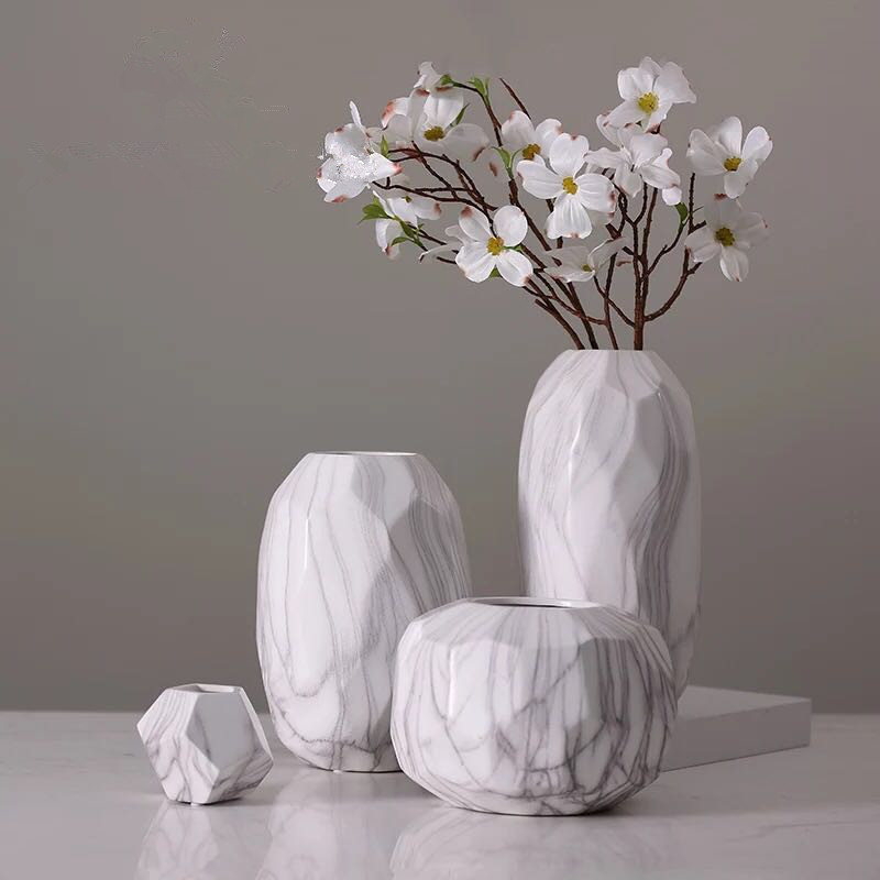 Europe Creative Marble Resin Vase Home Furnishing Tabletop Vase Europe Fashion Modern White Vase Home Decoration Tabletop Vase