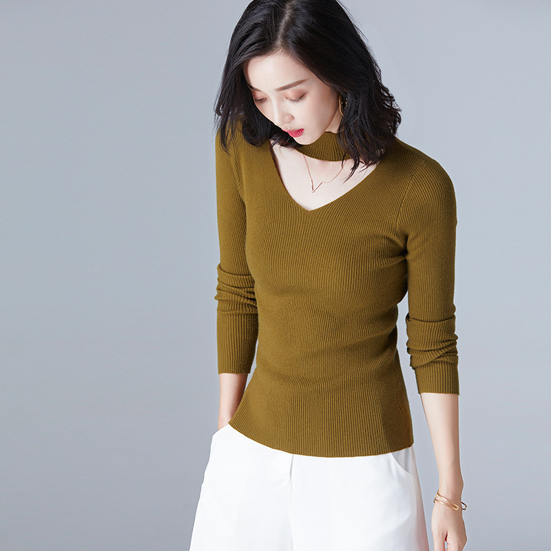 2019 Autumn And Winter New V-Neck Sweater Wild Slim Slimming Shirt Long-Sleeved Slim Pullover Sweater Women