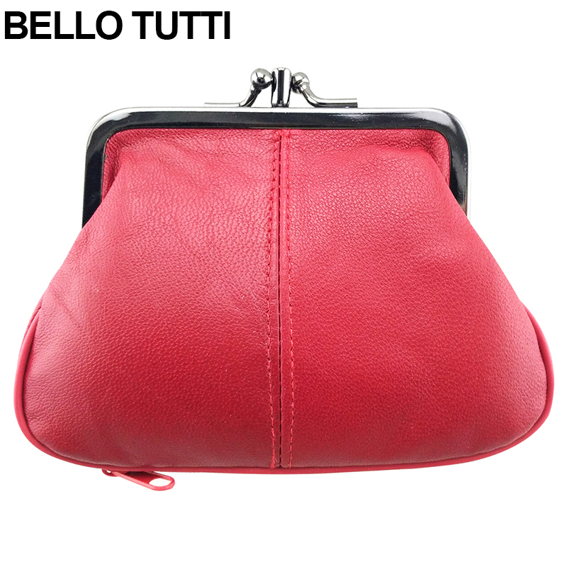 BELLO TUTTI Genuine Leather Mini Coin Purse for Womens Change Purse Sheepskin Kiss Hasp Closure Wallet Girls Small Wallet