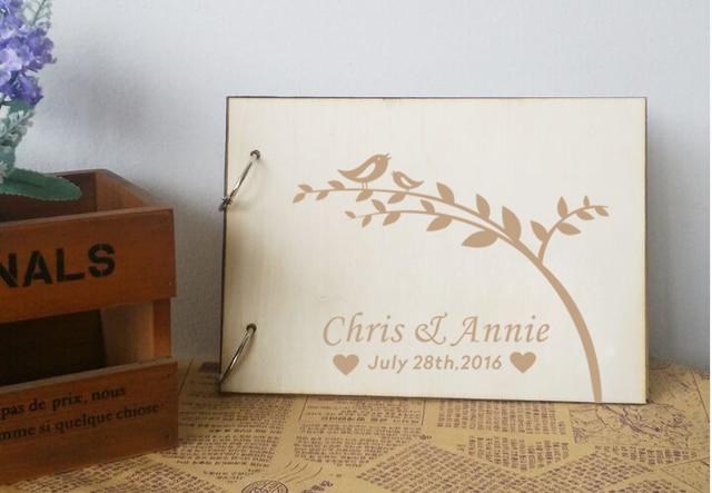 Personalized Wedding Guest Book Rustic Guestbook Al Unique Wood Books Signature