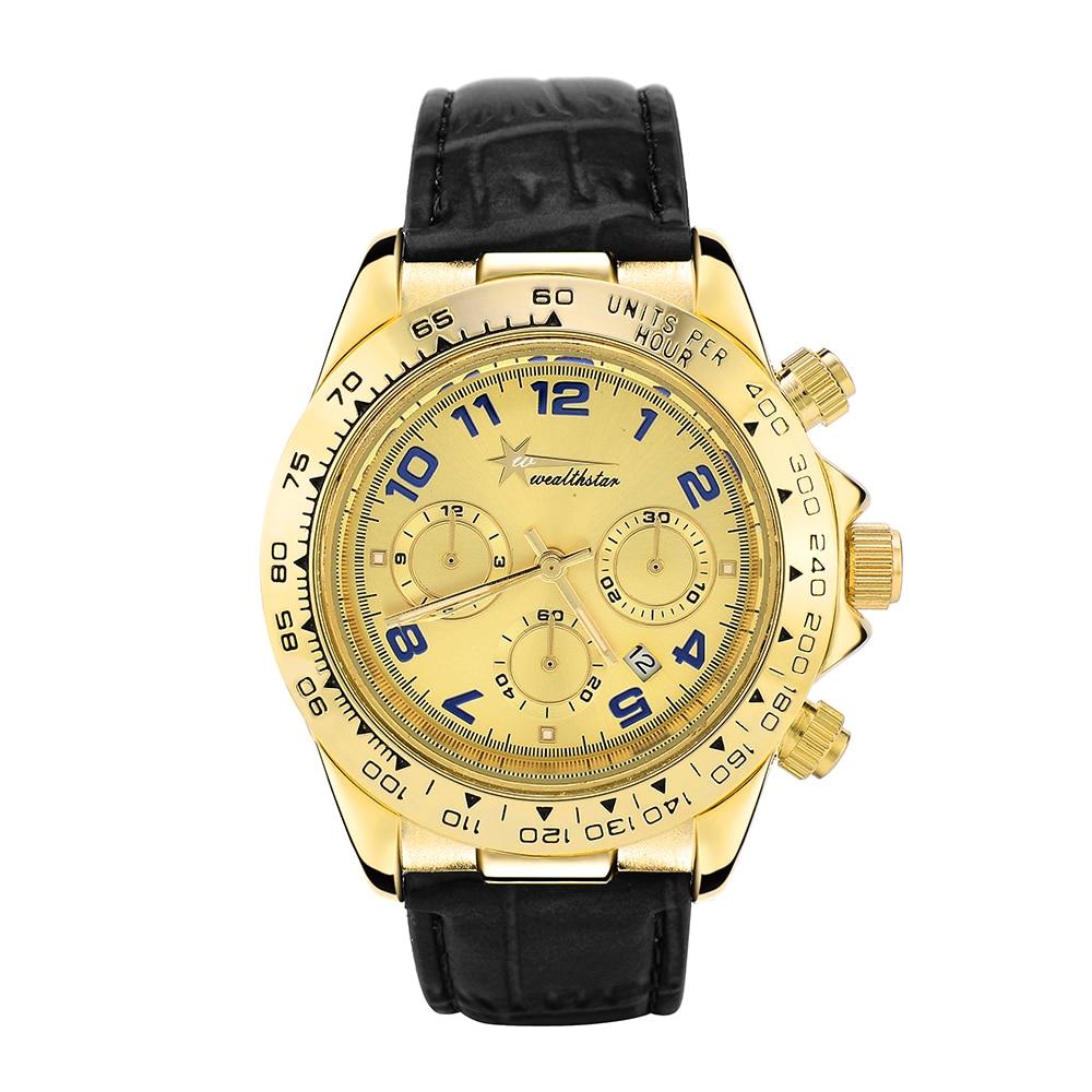 Gold Cass Watch Wealthstar Mens Watches Genuine Leather Luxury Mens Brand Military Wristwatches Men Quartz Sports Watches(China)