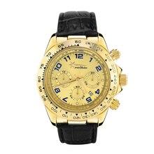 Gold Cass Watch Wealthstar  Mens Watches Genuine Leather Luxury Mens Brand Military Wristwatches Men Quartz Sports Watches