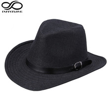 LUCKYLIANJI Men's Women's Fedora Jazz Leather Band Summer Beach Wide Brim Straw Cowgirl Cowboy Western Hat (One Size :58CM)