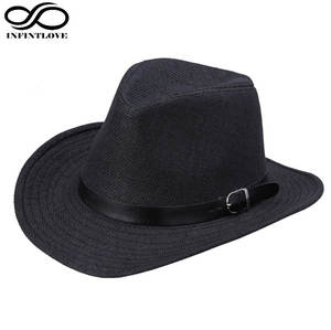 6d21805d17d0b LUCKYLIANJI Men s Women s Fedora Jazz Leather Band Summer Beach Wide Brim  Straw Cowgirl Cowboy Western Hat (One Size  58CM)