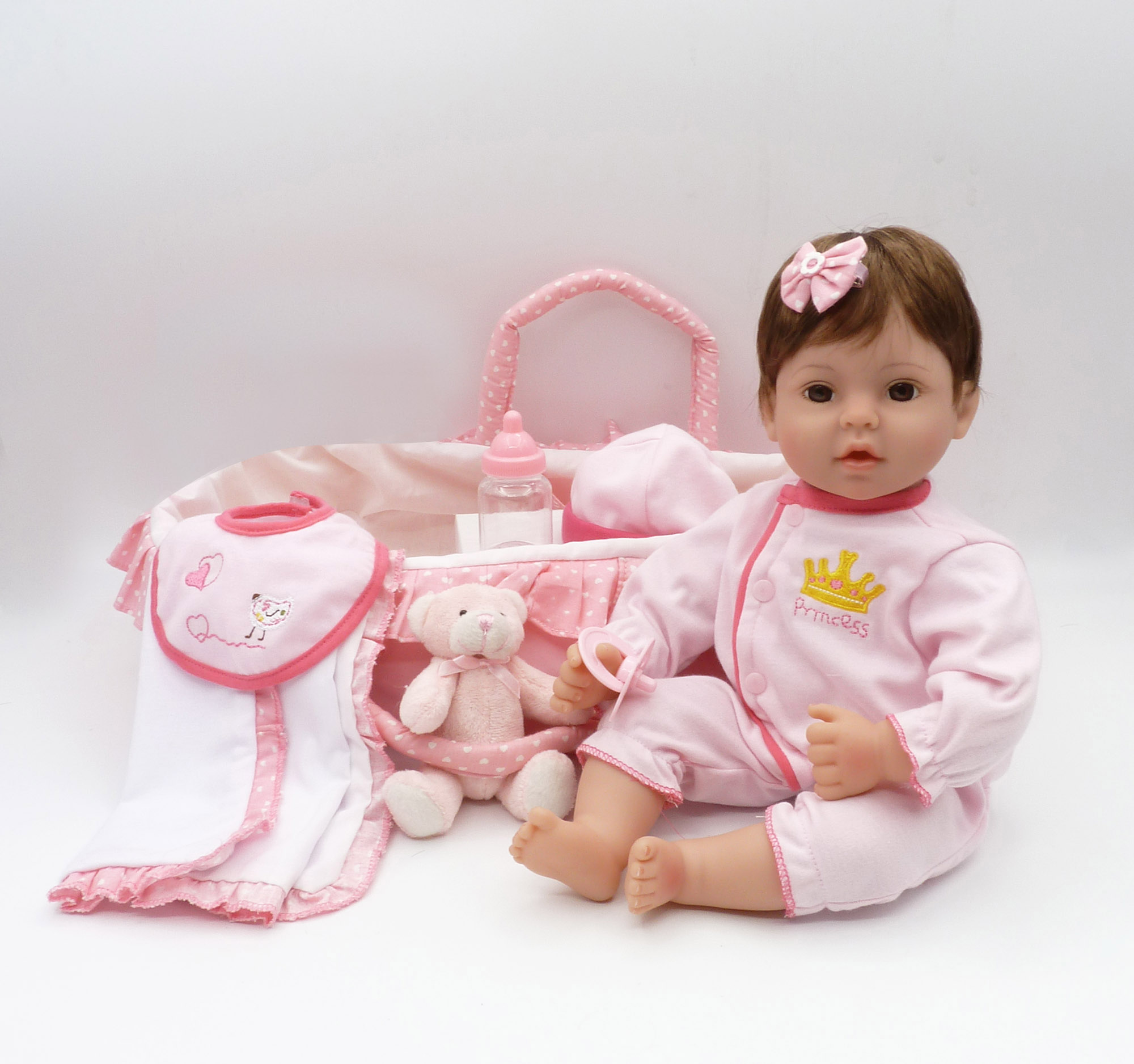16 Inches Reborn Doll 40cm Sleeping Silicone Dolls with Basket Handmade Lifelike Baby Fashion Gift for Kids Toys for Boy Girl