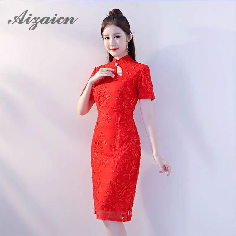 2018 Red Lace Cheongsam Girl Bride Mom Dresses Modern Chinese
