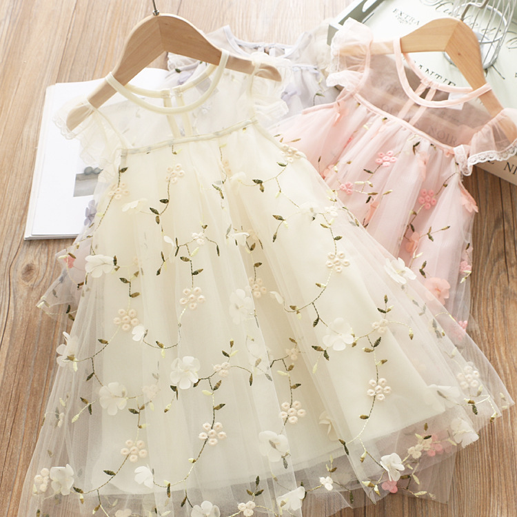 5280 Princess Petal Embroidery Fly Sleeve Baby Girl Dress Summer Wedding Party Kid Dress For Girl