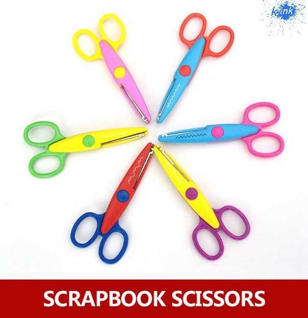 6pcs / Lot Colorful Lace Scissors For Children , Paper Cutting Decorating Scrapbook Scissors For DIY Decoration Tools