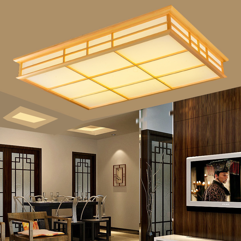 Japanese Style Delicate Crafts Wooden Frame Tatami Led Ceiling Lights Luminarias Para Sala Dimming Led Ceiling Lamp Various Styles Lights & Lighting