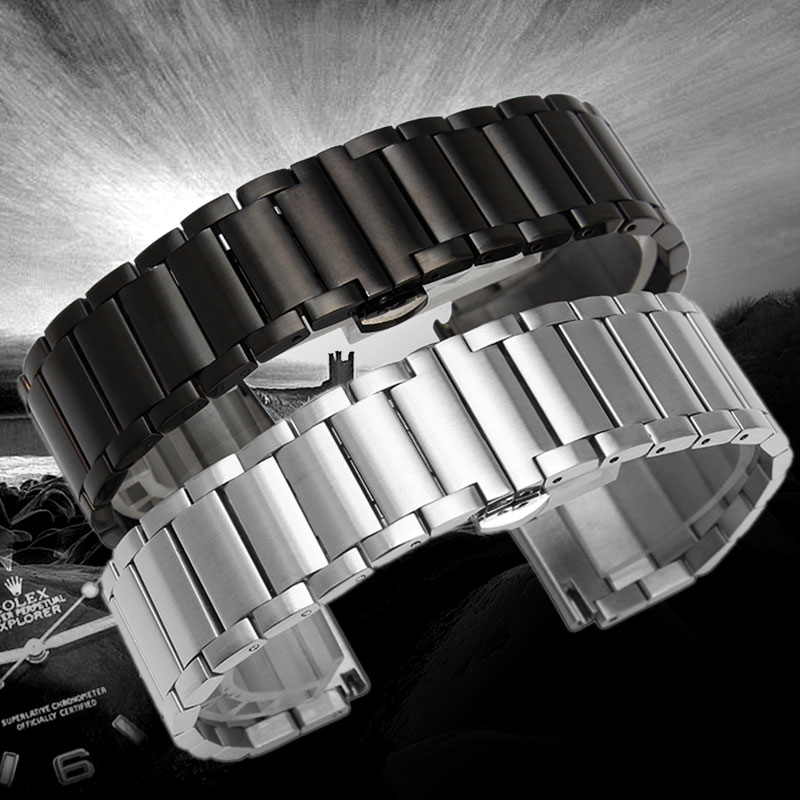 high quality 20 22mm silver black bracelet men women watch band strap cool replacement solid link stainless steel watchstrap High Quality 18mm/20mm Black/Silver Solid Stainless Steel Watch Band Men Watches Butterfly Buckle Strap Replacement Bracelet