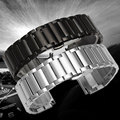 High Quality Solid Stainless Steel Watch Band 20mm 22mm Mens Watches Strap Cool Black/Silver   GD018