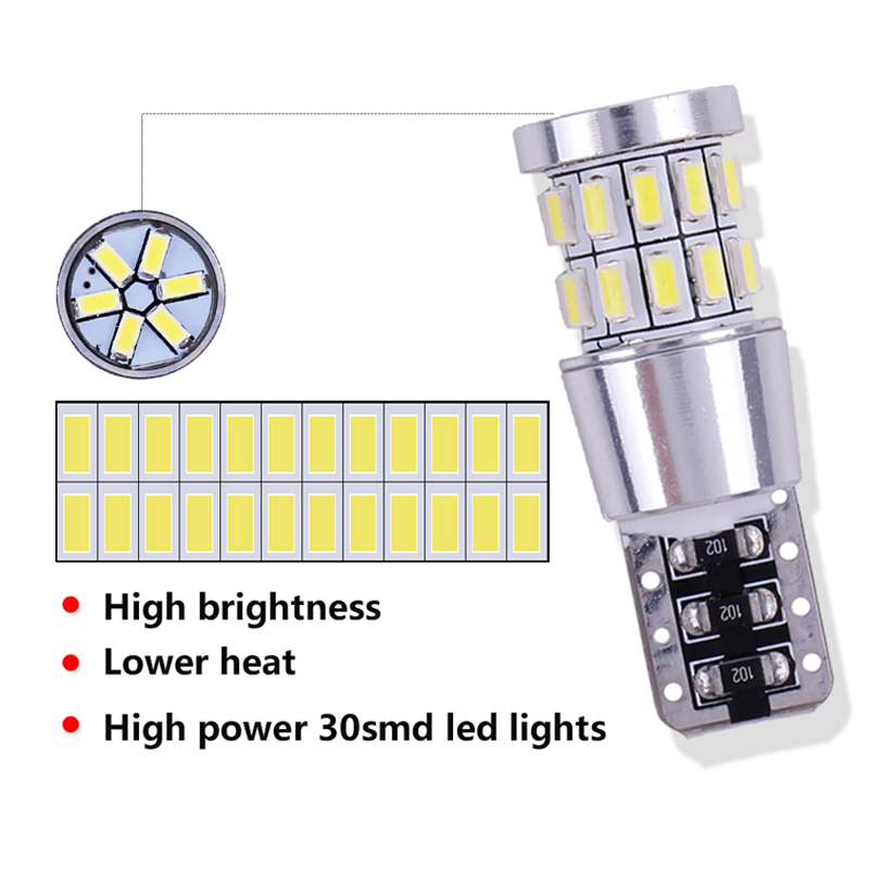 Image 3 - 1pcs T10 W5W LED Bulb 194 168 Canbus No error White Light 3014 30 SMD For Car Interior Dome License Plate Light Lamp 12V-in Signal Lamp from Automobiles & Motorcycles