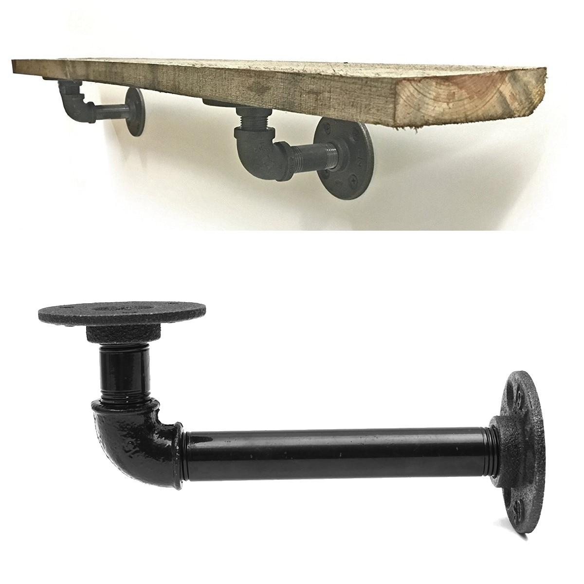 1 pçs l suporte de parede prateleira flutuante do vintage retro preto ferro industrial tubo suporte prateleira titular casa decoração armazenamento titular