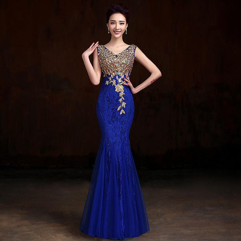 Vestidos de fiesta azul con dorado
