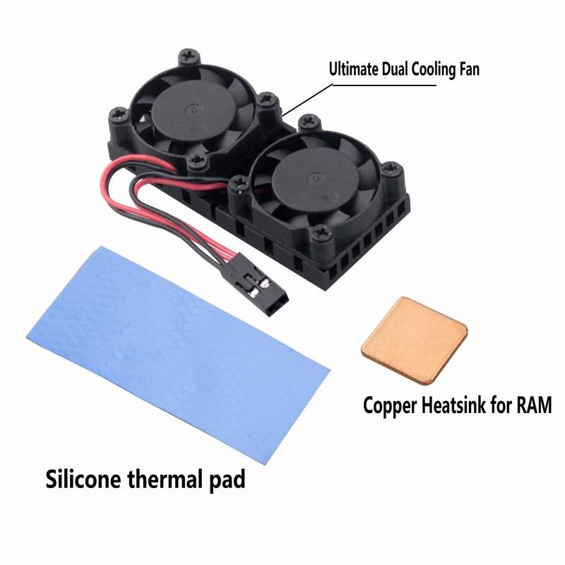 Gdstime 1 Piece Heat Sink Dual Cooler Ultimate Cooling Fan with Copper Heatsink For Raspberry Pi 3 Pi 2 Model B B+ NESPi цена