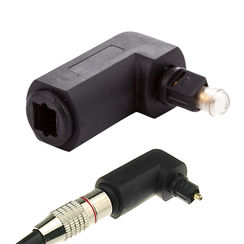 1Pcs Male to Female Optical Digital Audio Converter Adapter with 90 Degree Right Angle 360 Swivel for Toslink Jack GDeals