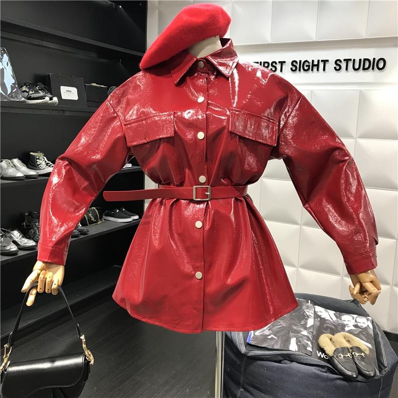2019 New Fashion Loose Sashes Full Sleeve PU   Leather   RED Jacket PU Female's Casual Personality Coat