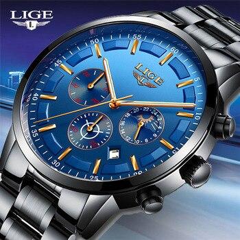 LIGE модные спортивные кварцевые часы мужские часы Лидирующий бренд Роскошные полностью стальные бизнес водонепроницаемые часы Relogio Masculino по...