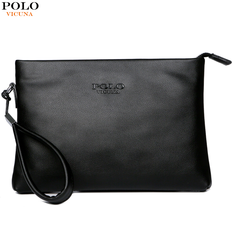 VICUNA POLO Black Leather Mens Clutch Bag Business Handbag Men Wallet Simple Man Clutch Purse Brand Big Capacity Men Wallets 2015 famous brand mens genuine leather business wallet man male multifunction large capacity clutch bag handbag wallet purses