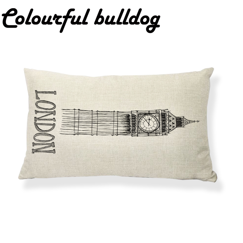 Cushion Cover Creative Sketch Paris Paris Tower And Big Ben In London Beach Loungers Office Affordable Decoration Pillowcase