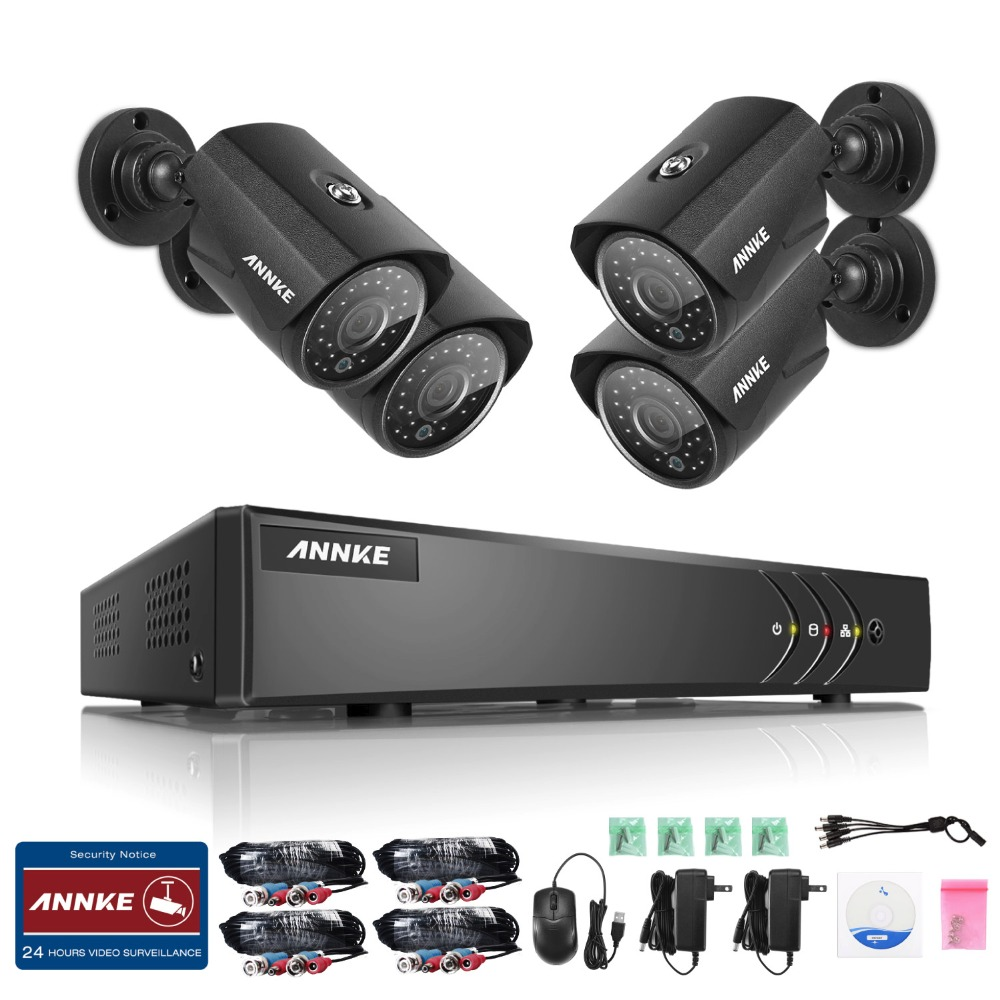 ANNKE 960P 8CH TVI CVI AHD 1.3MP Waterproof  cameras with 1080P Lite 5in1 DVR Outdoor Security Camera System HD