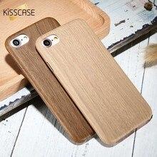 KISSCASE Yumuşak Ahşap iPhone için kılıf 6 6 s 7 8 Artı Ultra Ince Bambu Kapak iPhone XS Max XR X 7 8 6 s 6 Artı 5 s SE Kılıflar...