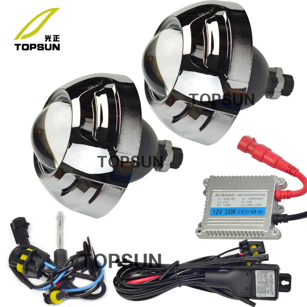 Auto Light Kit 3 inch Bifocal Koito Q5 Projector Lens,Bezels Shrouds overs,HID Xenon Bulb,35w Ballast,H/L Beam Control Cable