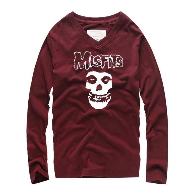 810636cc689 2018 New Fashion Brand clothing V-neck Slim Fit MisFits Print Long Sleeve T  Shirt Men Tee Trend Casual Men Cotton T-Shirts homme