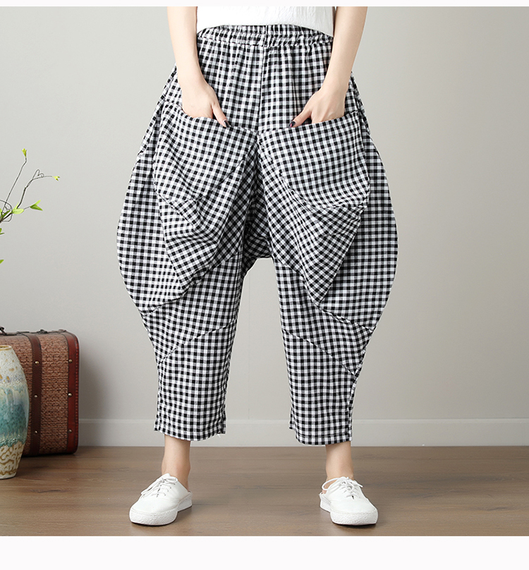 Vintage Retro Hippie Boho Elastic Waist Pocket Cotton Linen Plaid Loose Harem Pant Pantolon Women Trousers Drop Crotch Pants pocket