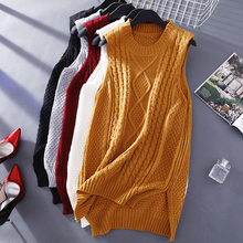 Female medium-long pullover vest solid color twisted yarn waistcoat sleeveless sweater r6218