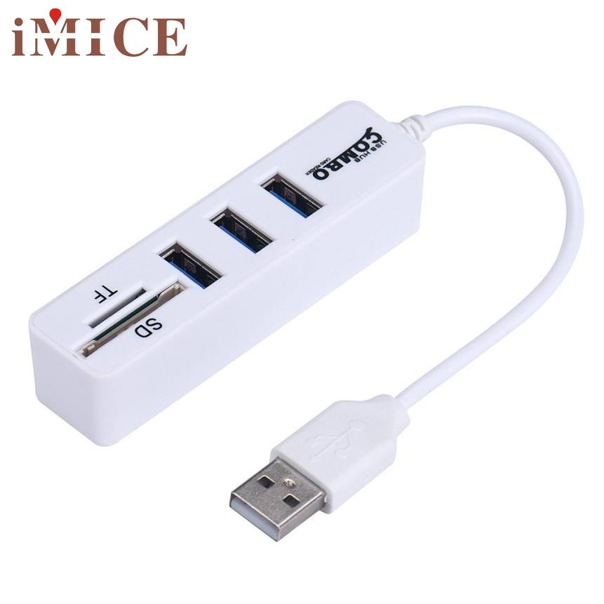 Top Quality 2 in1 Combo Super Speed USB 2.0 3 Port Splitter HUB+USB Card Reader Support SD/SDHC/SDXC/Micro SD/T-Flash Sep10 668 usb 3 1 type c card reader